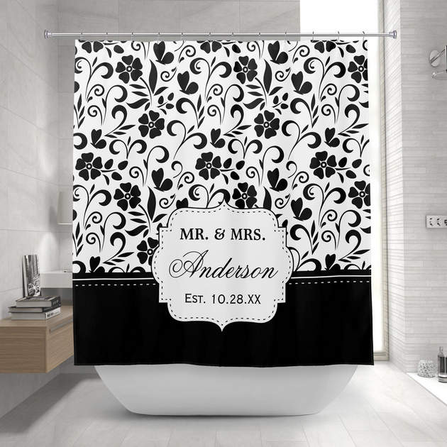Personalized Shower Curtains Mimogifts - Black and white flower shower curtain