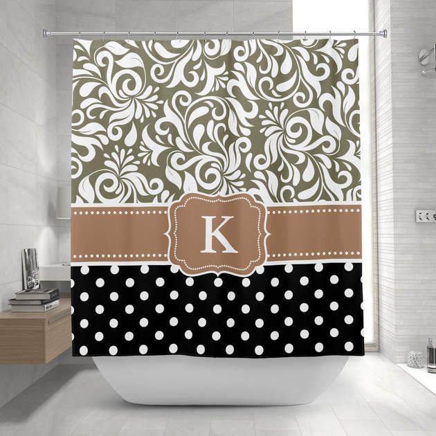 elegant floral damask polka dots tan monogram shower curtain
