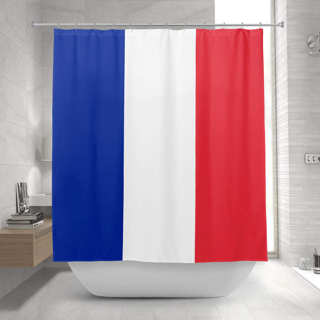 France Flag French Tricolour Blue White Red Shower Curtain 1 2