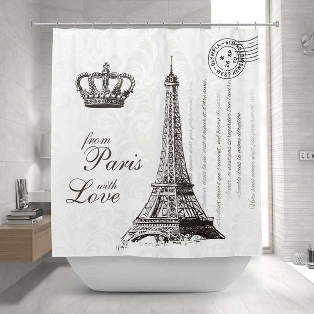 From Paris With Love Black And White Travel Decor Shower Curtain 1 2