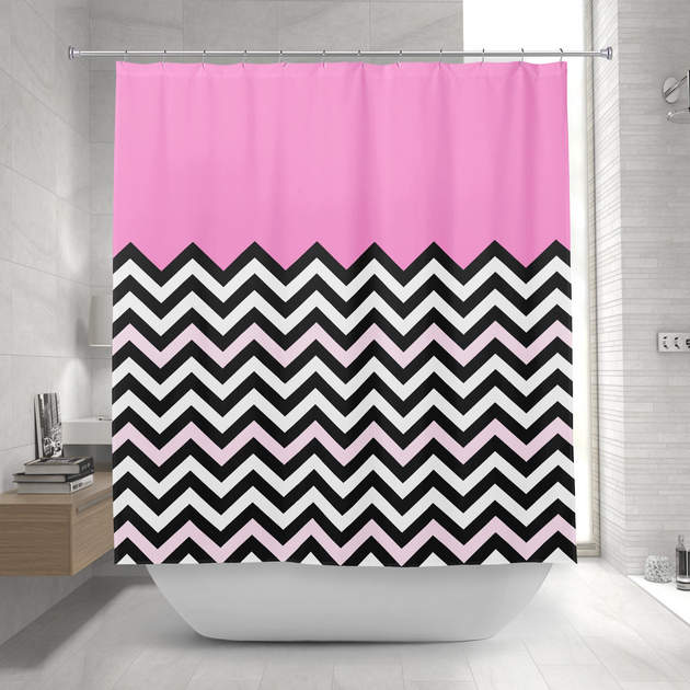Girly Baby Pink Chevron Stylish Zigzag Pattern Shower Curtain 1 2