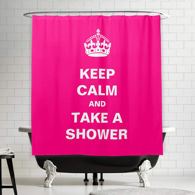 Keep Calm And Take A Shower Girly Hot Pink Curtain 1 2