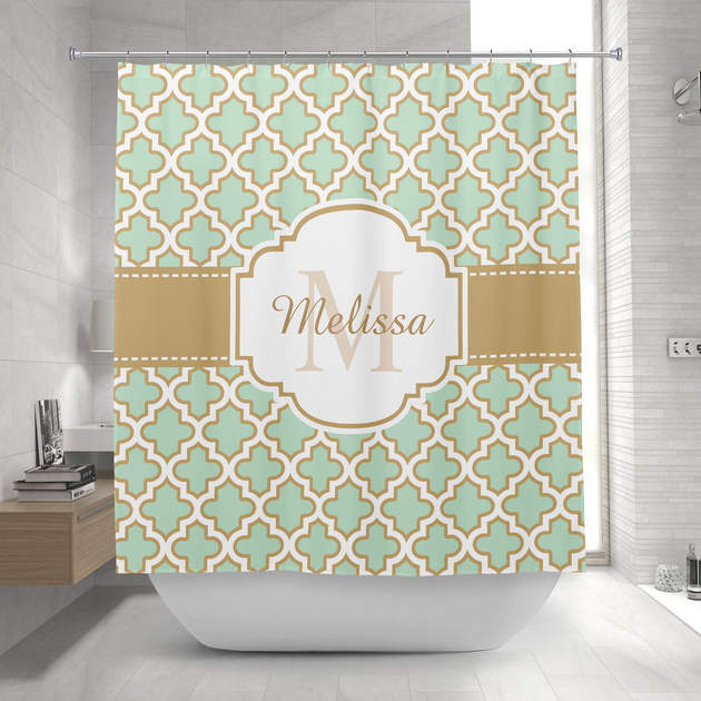 retro funky moroccan pattern mint green monogram shower curtain