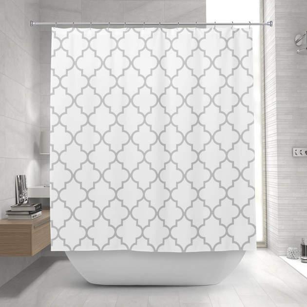 Elegant Gray White Moroccan Quatrefoil Pattern Shower Curtain 1 2